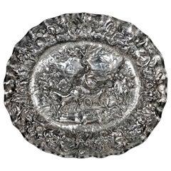 Unique Antique Large Silver Charger Repoussé Historical Scene, circa 1650