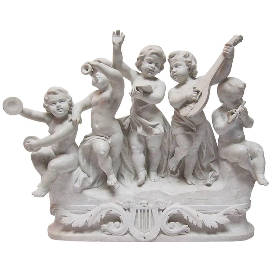 """Italian 19th-20th Century Marble Group """"Allegory to Music"""" Children's Orchestra"""