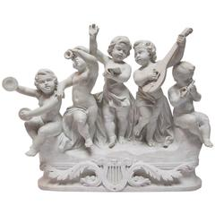 "Italian 19th-20th Century Marble Group ""Allegory to Music"" Children's Orchestra"