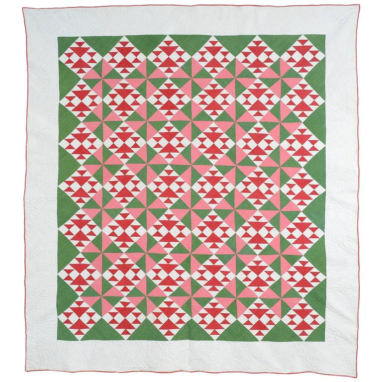 Fox And Geese Quilt With Pinwheels For Sale At 1stdibs