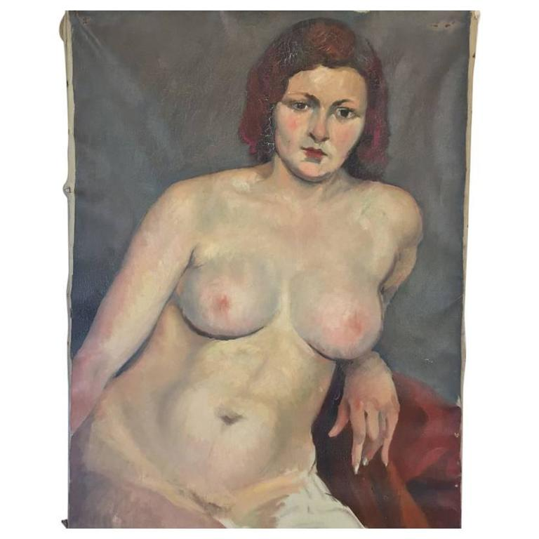 Vintage Nude Oil on Canvas Painting by Savignol, circa 1930
