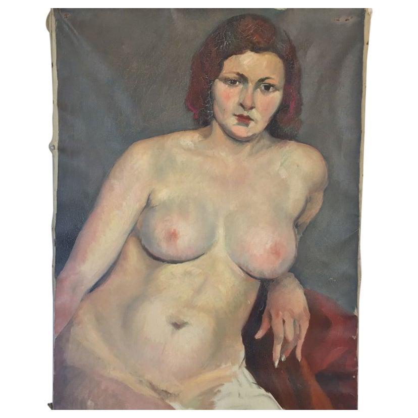 Vintage Nude Oil on Canvas Painting by Savignol, circa 1930