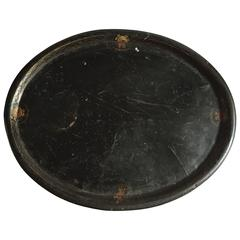 Hand-Painted Metal Tray, Belgium, circa 1900
