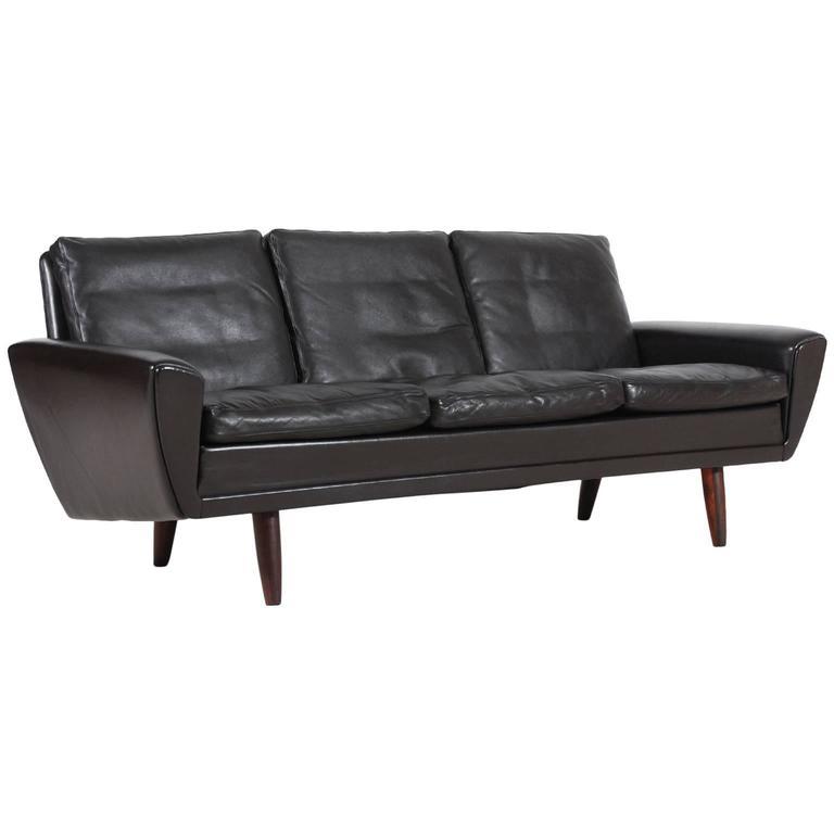 Scandinavian Three Seat Brown Leather Sofa, 1960s For Sale