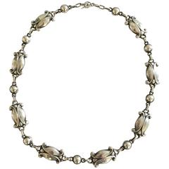 Georg Jensen Sterling Silver Necklace #15 with Silver Stones