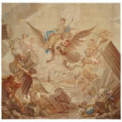 Rare Antique Tapestry, Destruction of Armida Palace, Gobelins, 18th Century