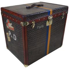 1920s Goyard Hat Trunk Chevron Canvas