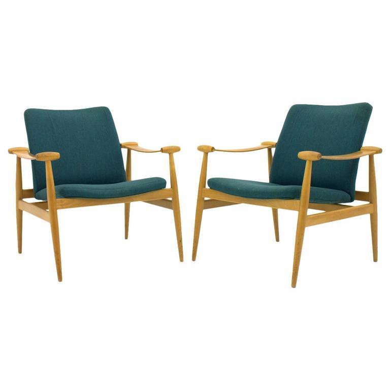 Pair of Finn Juhl Spade Lounge Chairs FD 133, Denmark, 1954, France & Sons