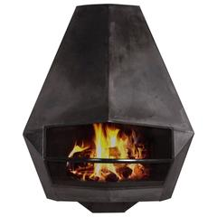 Diamond-Shaped Steel Fire Place