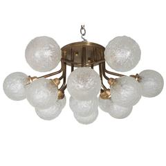 Mid-Century Patinated Brass Flush Mount Chandelier with 12 Textured Glass Globes