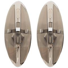 Pair of Mid-Century Modernist Smoked Glass Elliptical Sconces by Veca