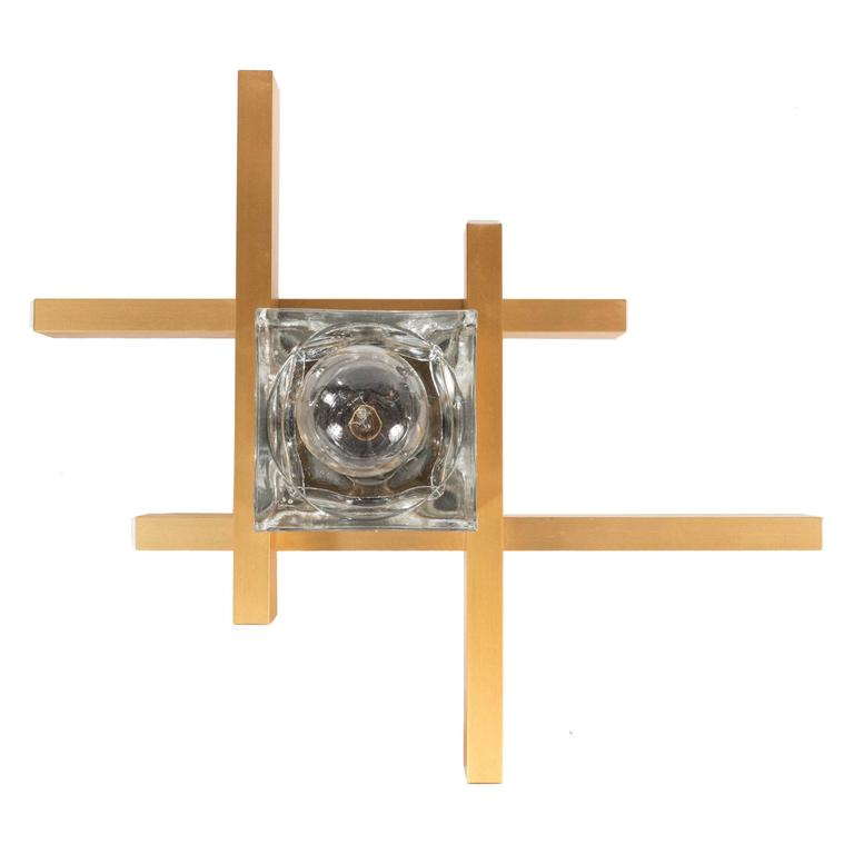 Mid-Century Modernist Flush Mount Brass and Cubed Glass Fixture by Sciolari