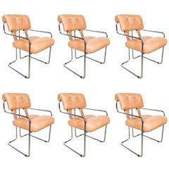 Mid-Century Modern Set of Six Tucroma Dining Chairs by Guido Faleschini for Pace