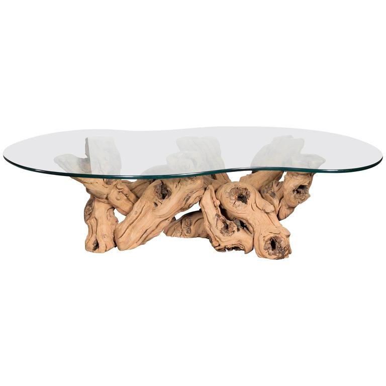 Mid-Century Modern Organic Free-Form Driftwood Cocktail Table