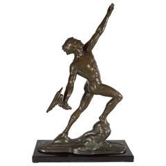 """Art Deco Frederic C. Focht Cast Bronze Statue """"Toujours Plus Haut"""""""
