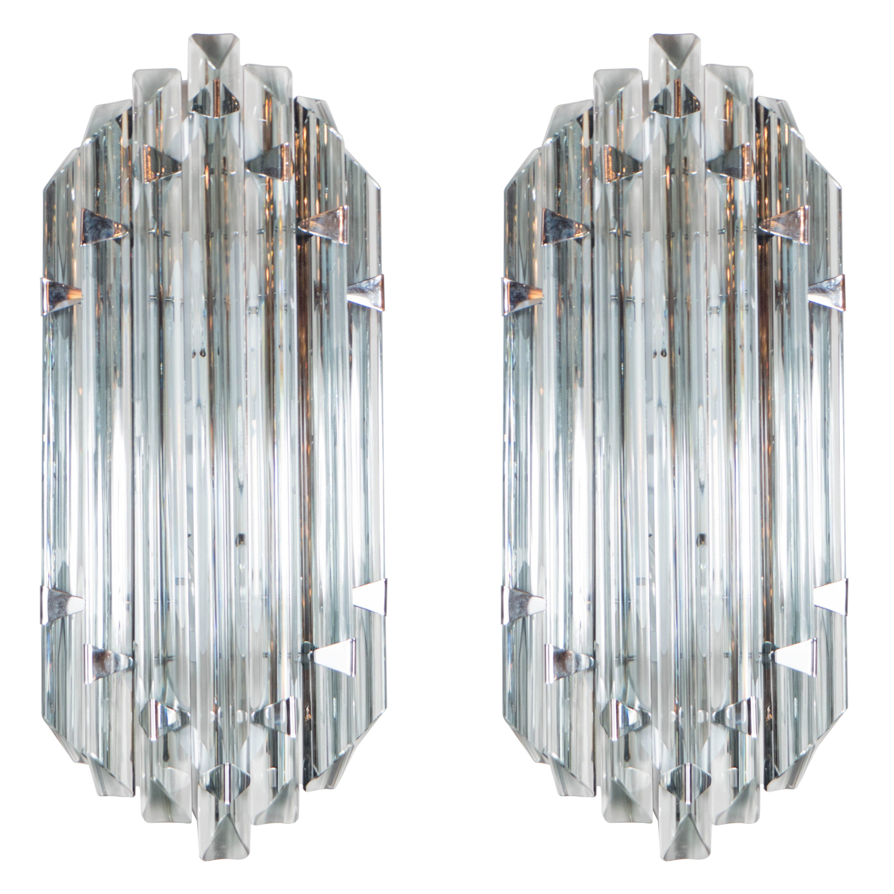 Pair of Mid-Century Modernist Sconces in Smoked Murano Glass with Nickel