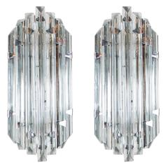 Pair of Mid-Century Modernist Sconces in Smoked Murano Glass & Nickel