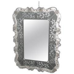 Romantic Murano Glass Wall Mirror