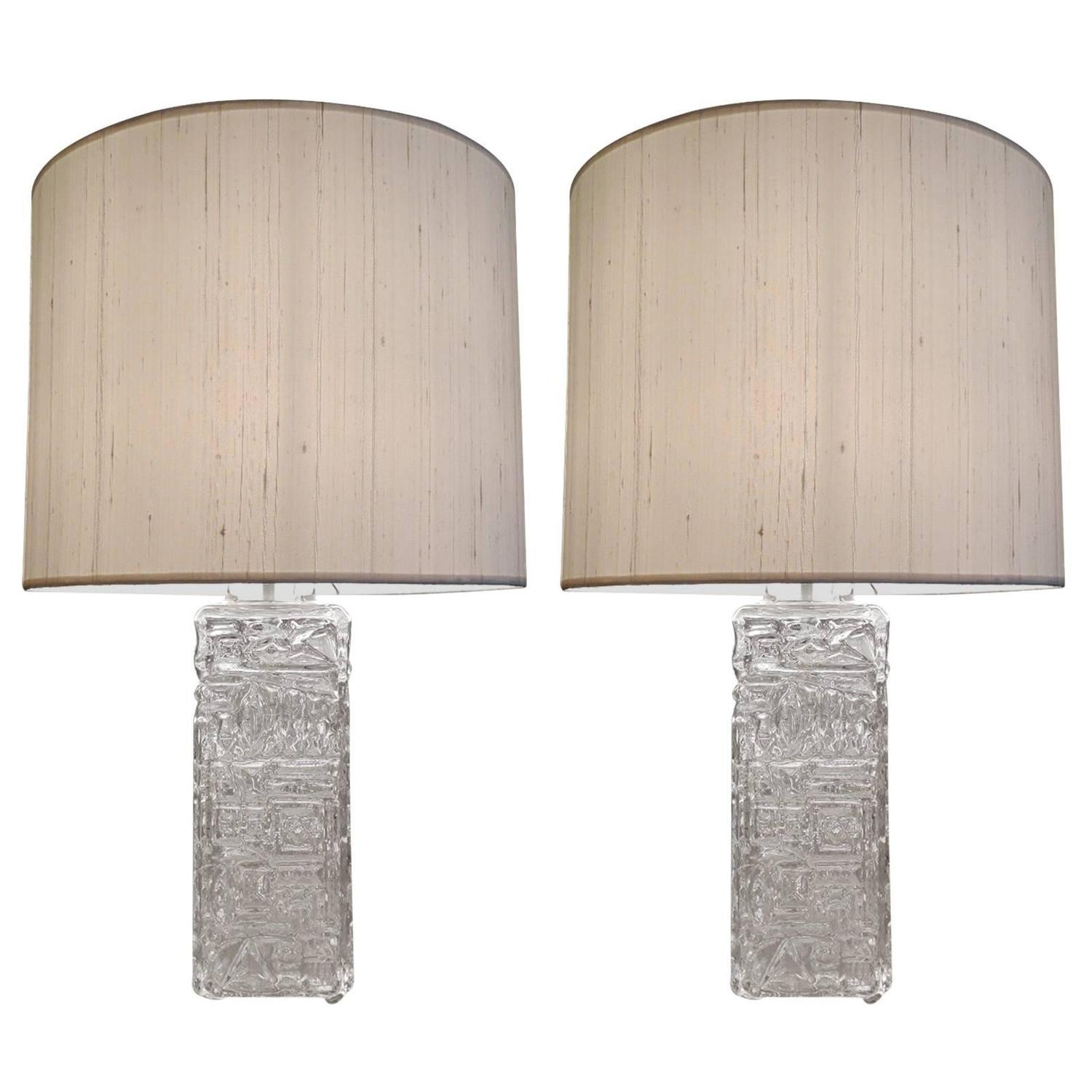 pair of large table lamps in clear molded glass in the style of. Black Bedroom Furniture Sets. Home Design Ideas