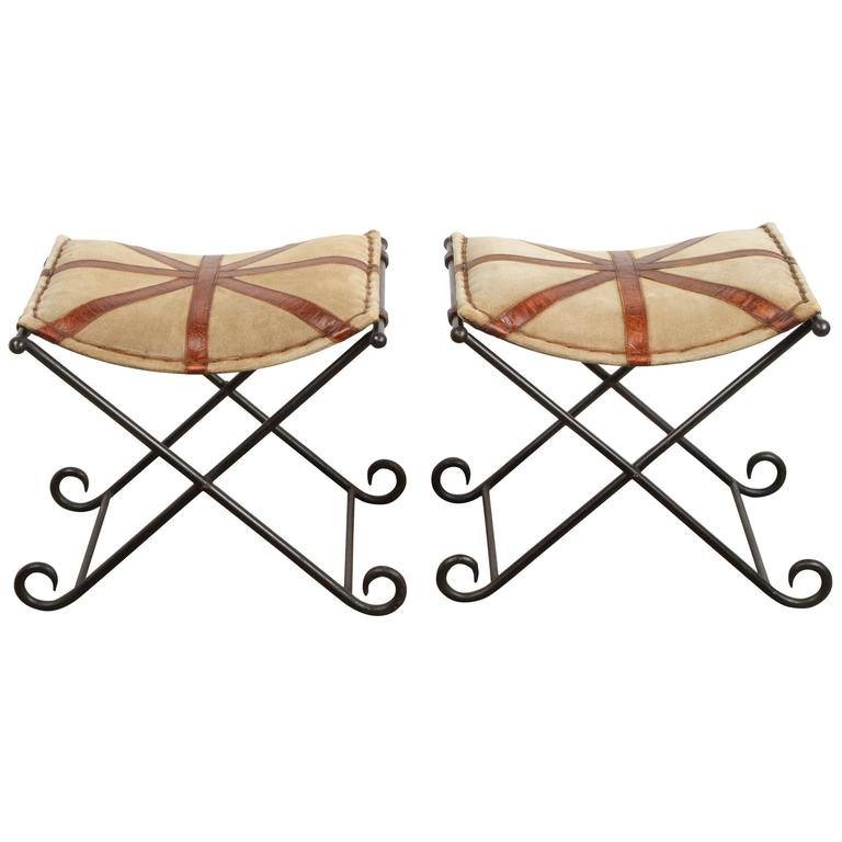 Pair Of Campaign Style Stools At 1stdibs