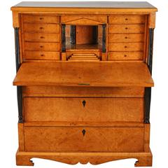 Swedish Figured Birch Biedermeier Secretary