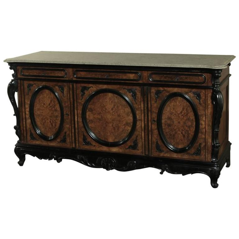 19th Century Marble-Top Napoleon III Buffet For Sale at 1stdibs
