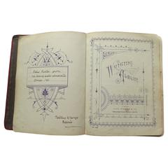 Late Victorian Writing Album, Personal Journal, Sketch Book and Stamp Album