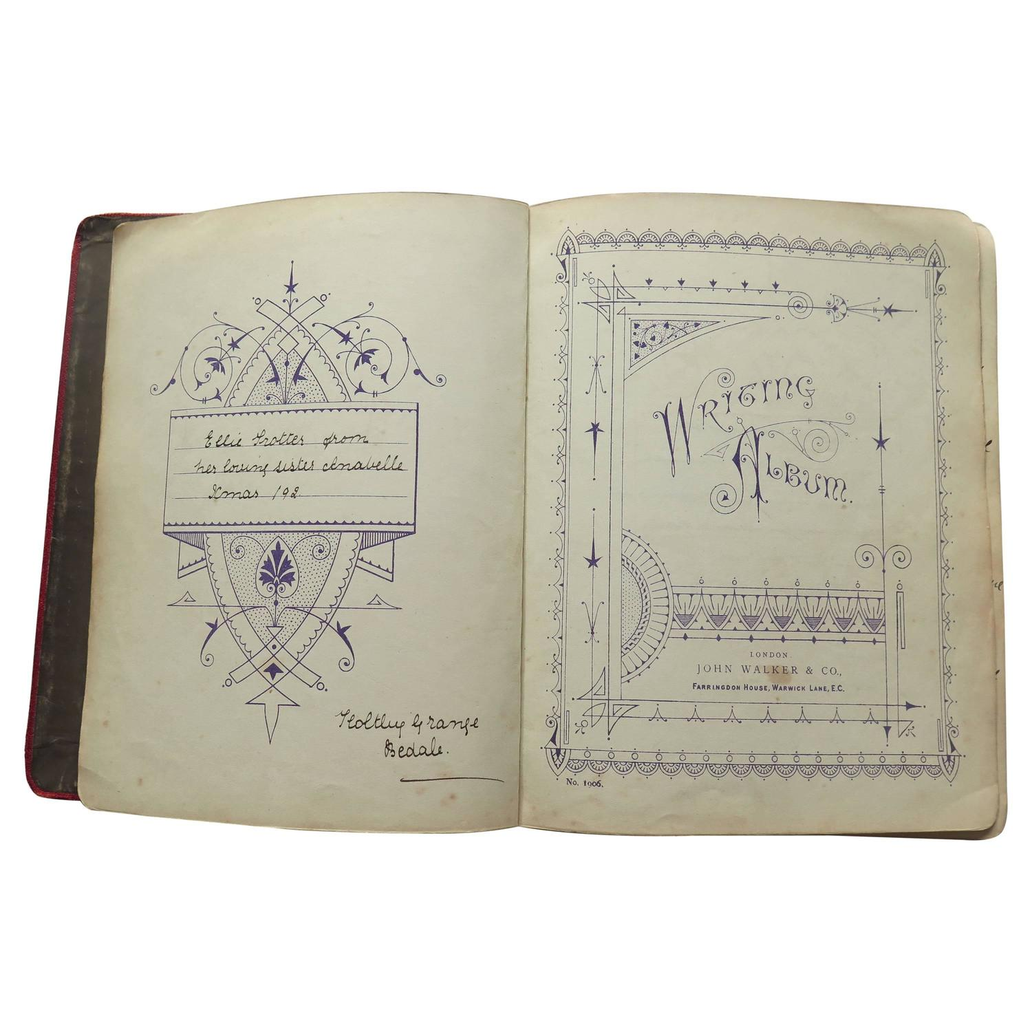 late victorian writing album personal journal sketch book and