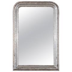 Antique French Louis Philippe Silver Gilt Mirror, circa 1895