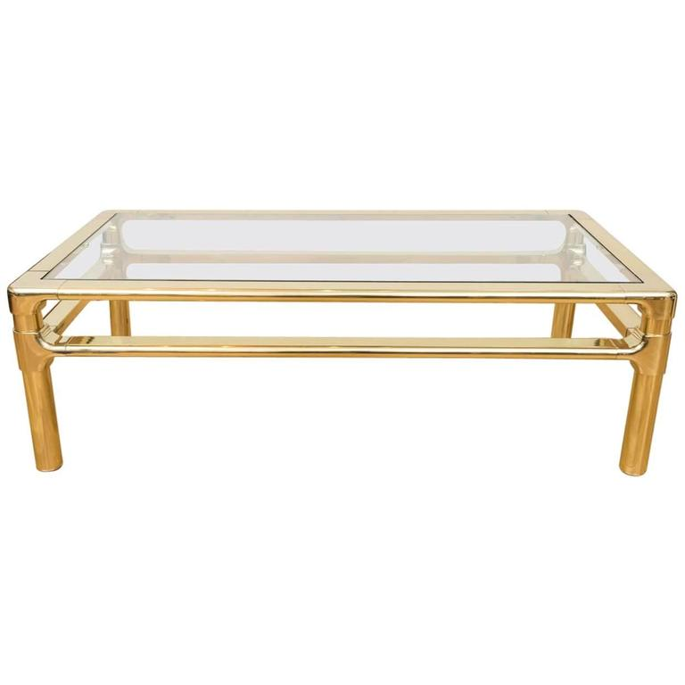 Polished Brass Mastercraft Cocktail Table At 1stdibs