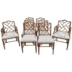 Set of Eight Century Faux Bamboo Chinese Chippendale Fretwork Dining Armchairs