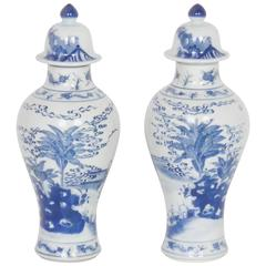 Blue and White Chinese Export Style Porcelain Lidded Jars