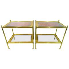 Pair of 20th Century Brass Side Tables with 19th Century Cinnabar Lacquer Panels