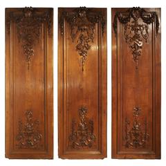 Set of Three Antique French Boiserie Panels, circa 1870