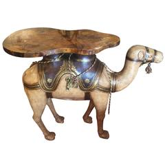 Maitland-Smith Polychrome Paint Decorated Camel Serving Table