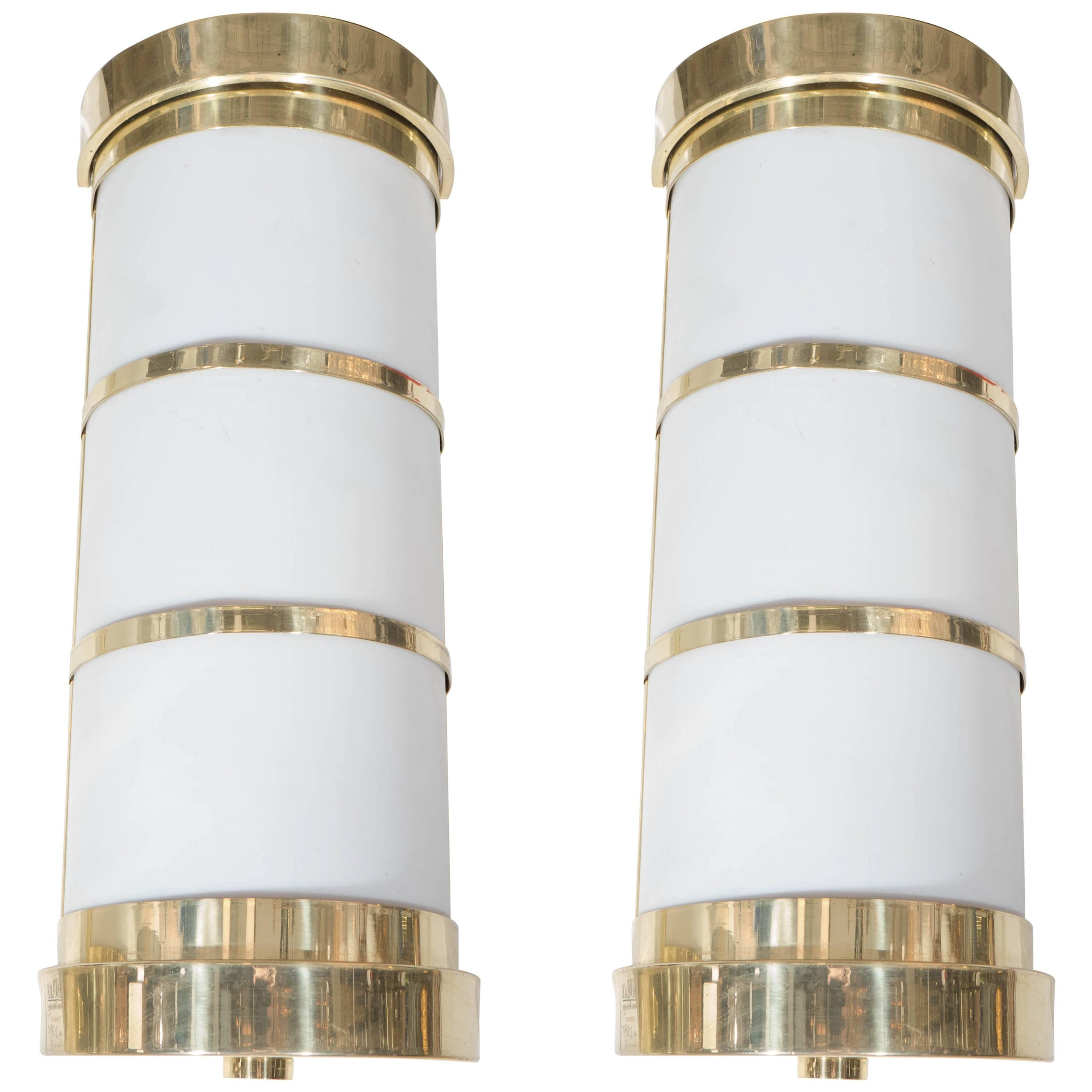 Pair of Cylindrical Wall Sconces in Frosted Acrylic and Brass