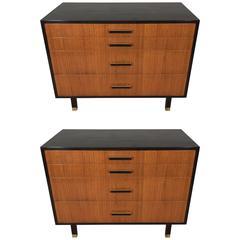 Pair of Harvey Probber Dressers in Ebonized Wood and Walnut