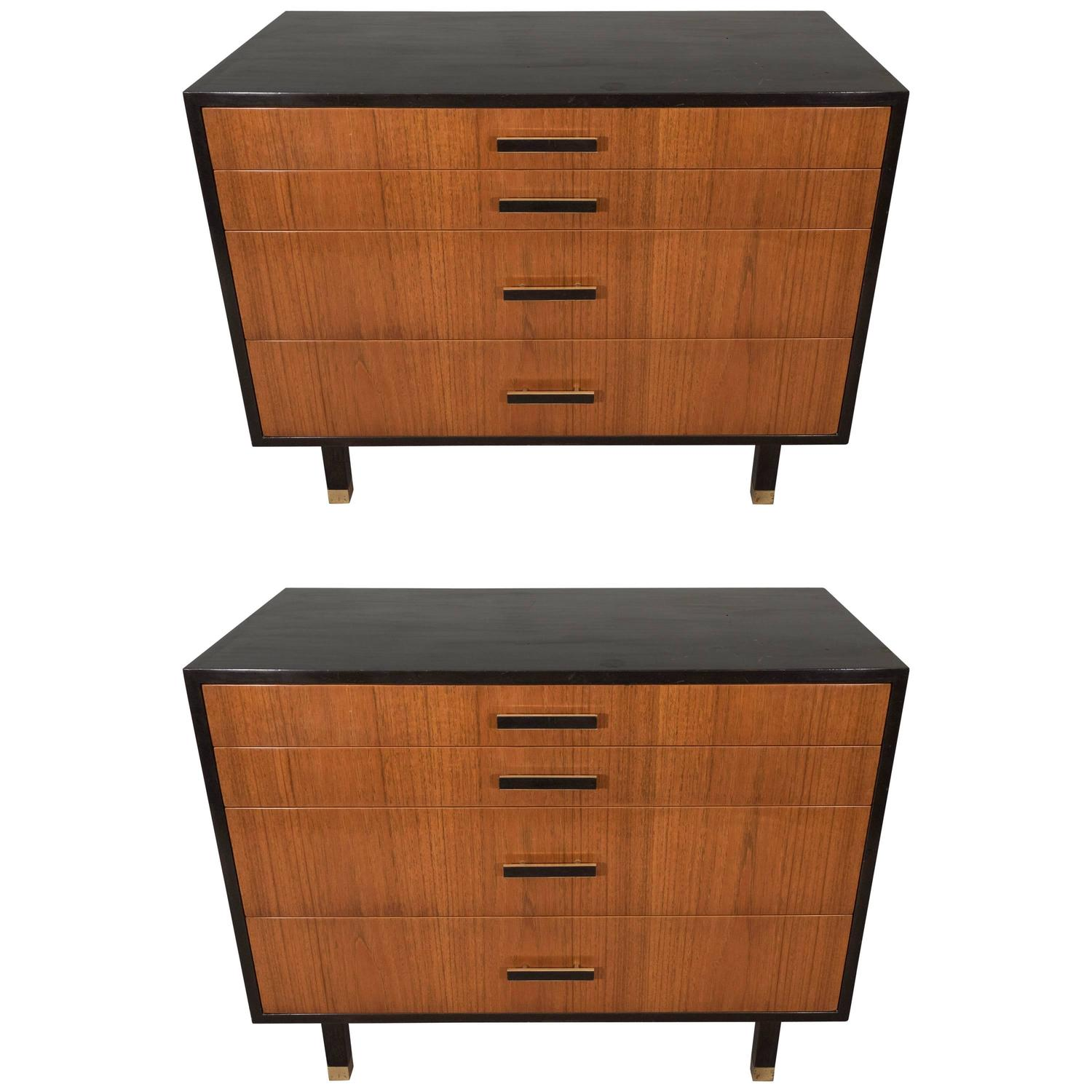 Pair Of Harvey Probber Dressers In Ebonized Wood And Walnut At 1stdibs