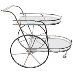 Midcentury Two-Tier Bar Cart in Chrome and Glass