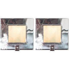 Pair of Contemporary Chrome and Glass Square Sconces by Theodore Alexander