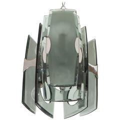Italian Chrome & Gray Smoked Glass Pendant by Veca