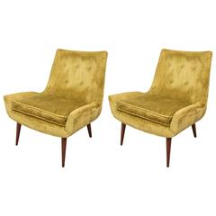 Pair of Midcentury Chartreuse Slipper Chairs on Tapered Legs