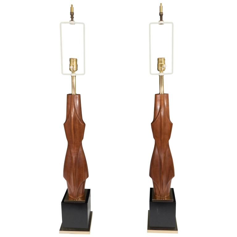 Pair of Laurel Abstract Wooden Table Lamps