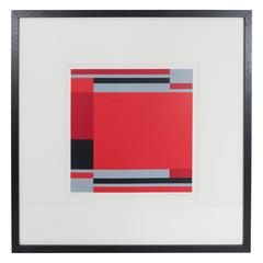 Jo Niemeyer, Geometric Composition in Red, Grey & Black, Signed & Dated
