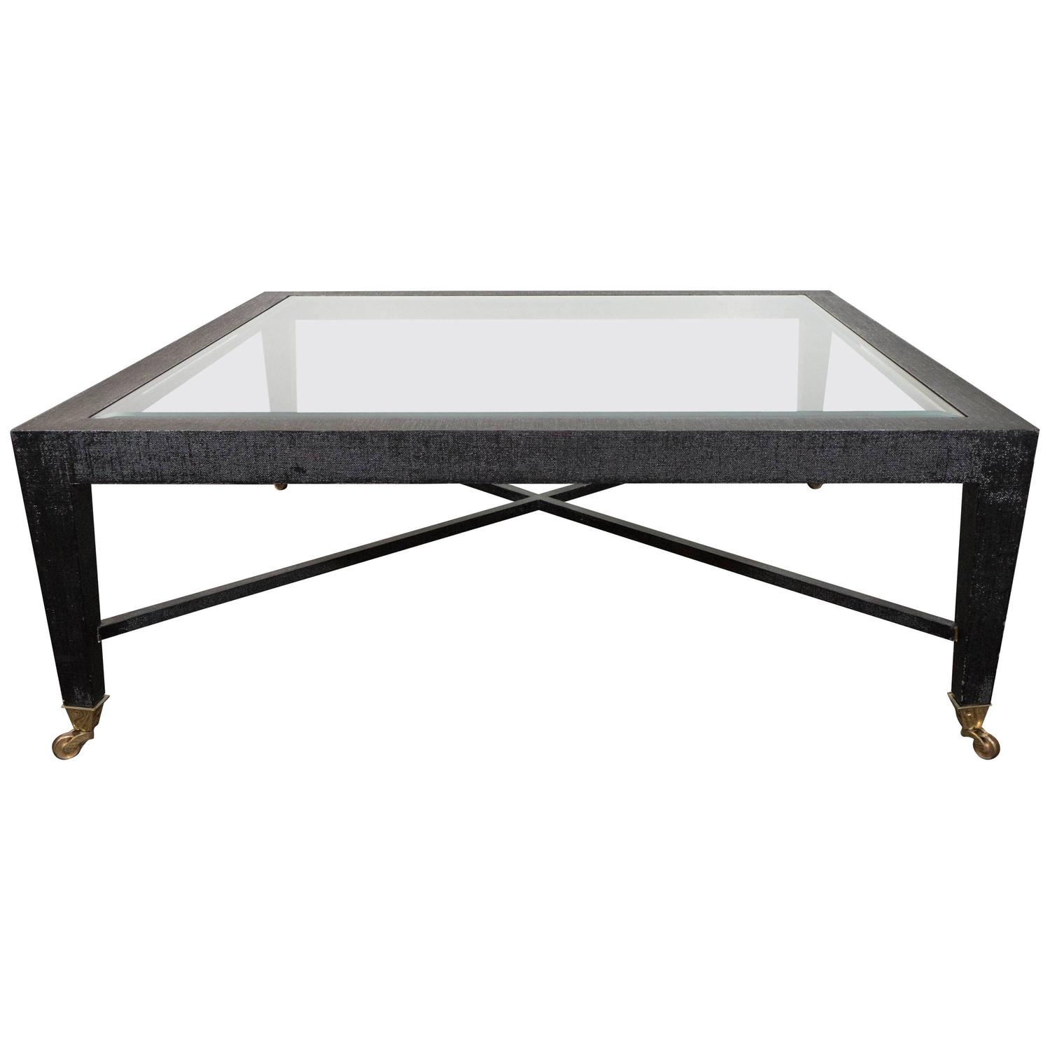 1970s Glass Top Coffee Table In Black Lacquered Linen For Sale At 1stdibs