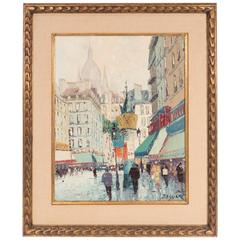 R. Bessier Parisian Street Scene Oil on Canvas, Signed and Framed