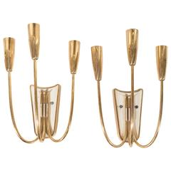 Stilnovo Style Three-Light Candelabra Sconces
