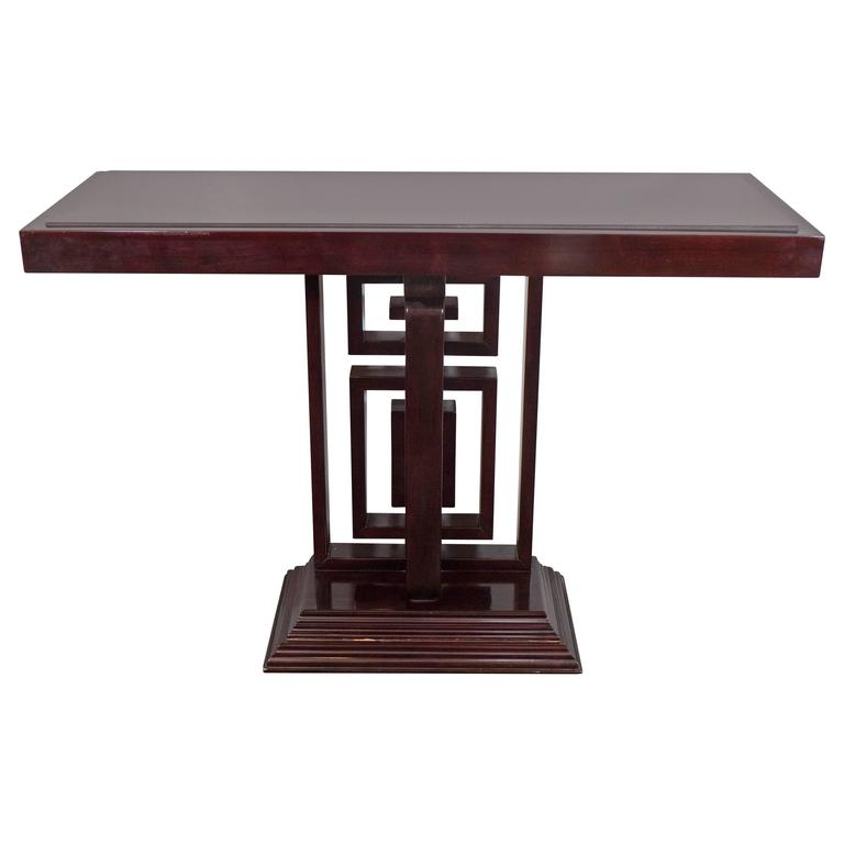 Art Deco Style Granite Top Console with Fretwork Base