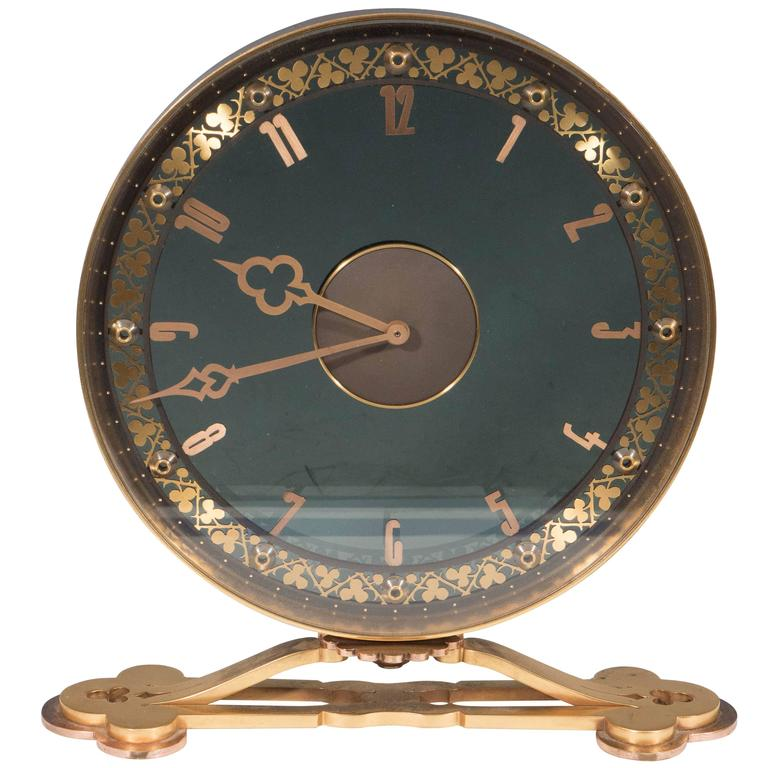 Jaeger Lecoultre Desk Clock In Gilded Smoked Glass At 1stdibs
