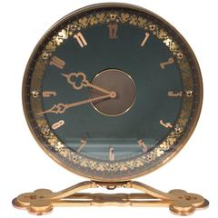 Jaeger-LeCoultre Desk Clock in Gilded Smoked Glass